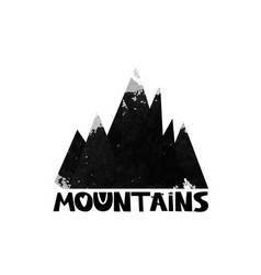 Mountains lettering the text watercolor vector