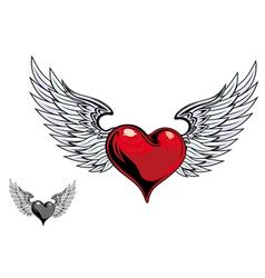 retro heart wings vector image vector image