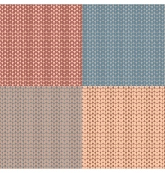 Set of knitted pattern Woolen cloth Knit texture vector image vector image