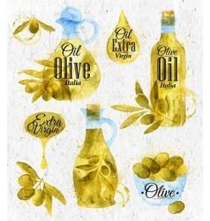 Watercolor drawn olive oil retro style vector image