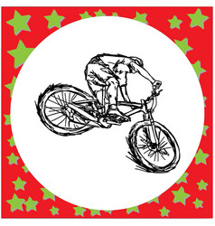 man riding mountain bike - sketch vector image vector image