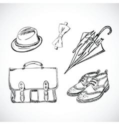 Gentleman Sketch Handdrawn Set vector image
