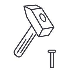 hammer with pin line icon sign vector image vector image