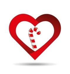 heart cartoon candy cane sweet icon design vector image vector image