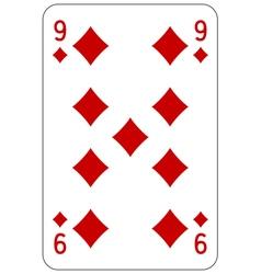 Poker playing card 9 diamond vector image vector image