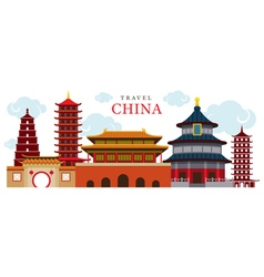 Travel china building and city vector