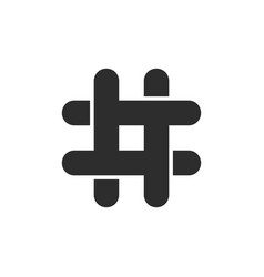 black hashtag icon with cut ends vector image