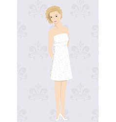 bride in mini dress vector image vector image