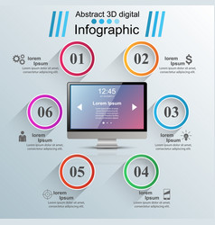 monitor icon business 3d infographics vector image