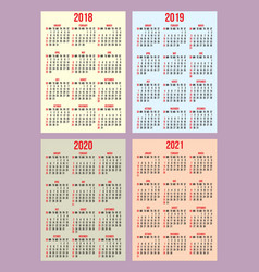 set of calendar grid for years 2018-2021 vector image