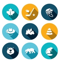 Set of Canada Icons Maple Leaf Hockey vector image vector image