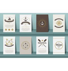 Set of nautical brochures in vintage style vector