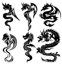 set of the chinese dragons tribal tattoo vector image vector image