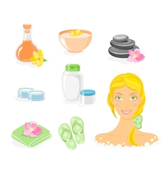 spa and body care icon set vector image vector image
