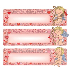 Valentines Day banners with cupid vector image vector image