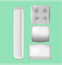 white pillows mock up collection set vector image vector image
