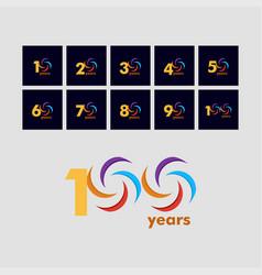 100 year anniversary rainbow set 12345678910 vector