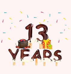 13 years birthday celebration with cake and gift vector image