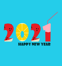 2021 happy new year fruit style design vector image