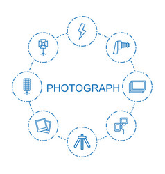 8 photograph icons vector image