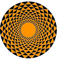 a round ornament of triangles of black and orange vector image