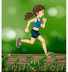 A woman running above a wood with leaves vector