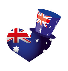 australia flag shaped heart and top hat vector image