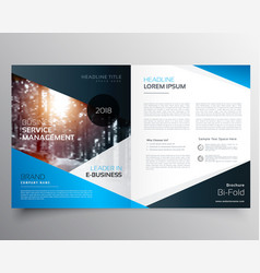 Awesome blue magazine cover or bifold brochure vector