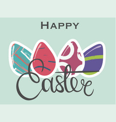 banner with hand drawn lettering and eggs vector image