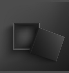black empty present box open on black vector image