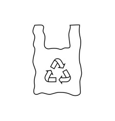 black plastic bag with recycle icon vector image