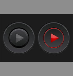Black round play buttons set vector