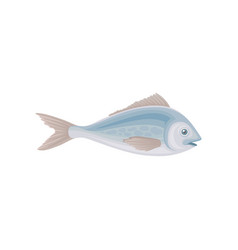 Blue swimming fish sea creature marine animal vector