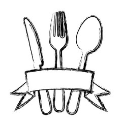 Blurred silhouette cutlery kitchen elements with vector
