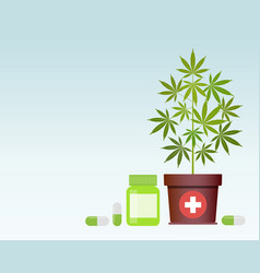 Bottle with medical marijuana and medical vector