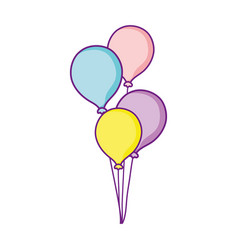 Bunch balloons decoration celebration party vector
