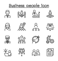 business people icon set in thin line style vector image