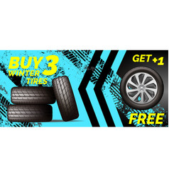 car tires shop banner with discount offer blue vector image