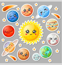 Cartoon cute planets stickers happy planet face vector
