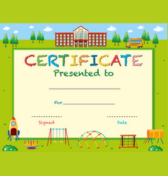 Certificate template with school in background vector