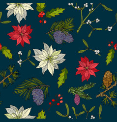 Christmas seamless pattern with poinsettia pine vector