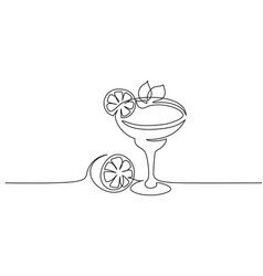 cocktail margarita with lime continuous one line vector image