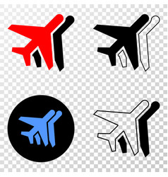 Collage of gradiented dotted airplanes and grunged vector