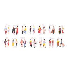 Collection of men and women standing and speaking vector