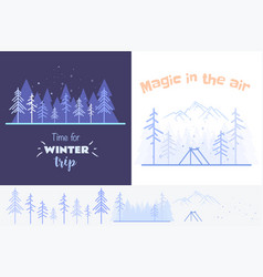 collection of two outlined in blue vector image