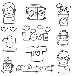 Collection stock love theme of doodles vector
