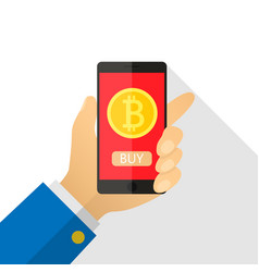 Concept of paying bitcoins in a flat style pay vector