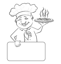 Cook with pizza and poster contour vector image vector image