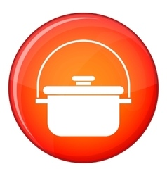 Cooking cauldron icon flat style vector
