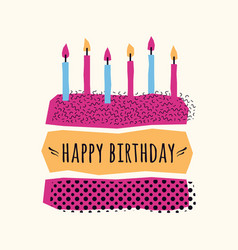 cute happy birthday card with cake candles vector image